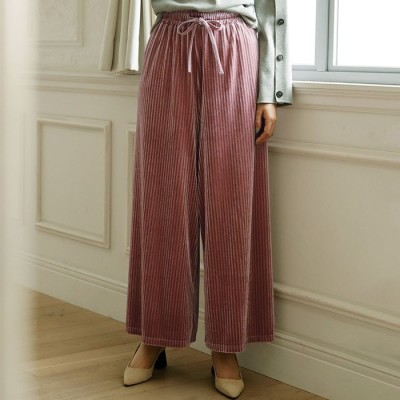 Ranan 【M~3L】ストライプベロアワイドパンツ ピンク M レディース