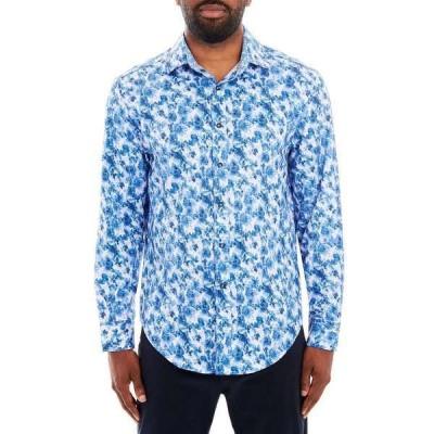 タリア シャツ トップス メンズ Men's Paisley Long Sleeve Button Up Shirt Blue
