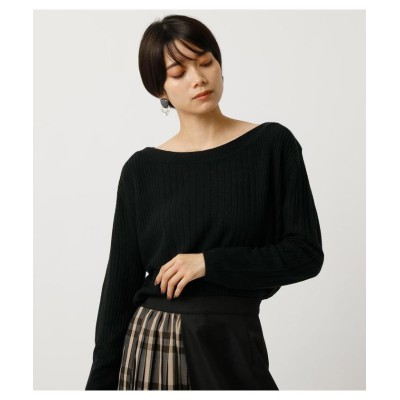 (AZUL by moussy/アズールバイマウジー)NUDIE WIDE RIB B/N KNIT TOPS/レディース BLK