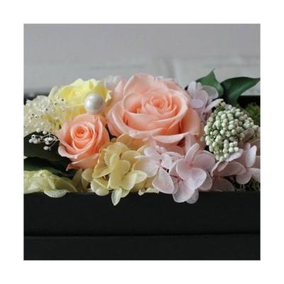 プリザーブドフラワー ボックス オレンジ 誕生日 プレゼント 送別花 お見舞い 記念日 お見舞い