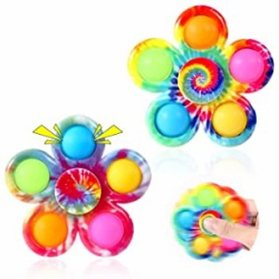 GOHEYI Pop Fidget Spinner Toys 2 Pack  Tie Dye Fidget Popper Spinners Set  Pop Bubble Fidget Sensory Toys  Pop Hand Spinners