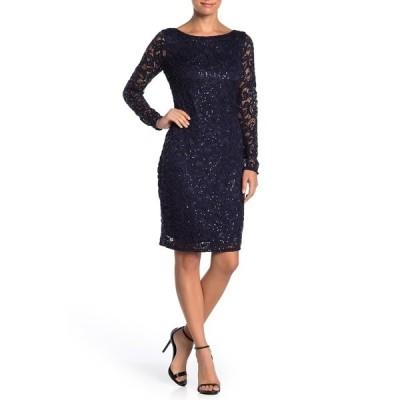 マリーナ レディース ワンピース トップス Sequin Lace Long Sleeve Sheath Dress NAVY