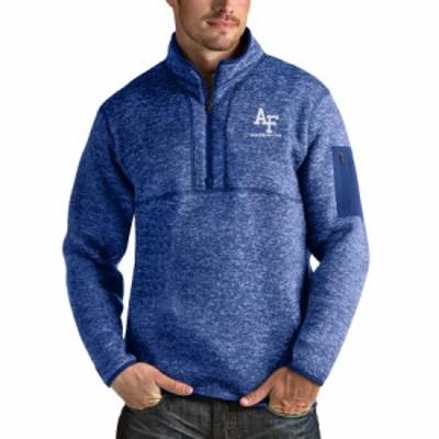"""メンズ ジャケット """"Air Force Falcons"""" Antigua Fortune Quarter-Zip Pullover Jacket - Royal/Heather Gray"""