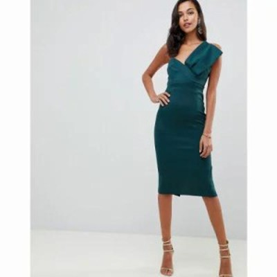 エイソス ボディコンドレス bandeau bow detail scuba midi bodycon dress Forest green