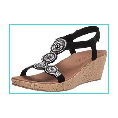 Skechers Women's Beverlee-Date Glam Sandal Wedge, Black, 7 Medium US【並行輸入品】
