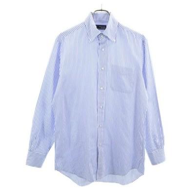 美品 メーカーズシャツ鎌倉 ストライプ柄 長袖 ボタンダウンシャツ 40 青系 Makers Shirt メンズ 古着 200429