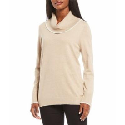 カルバンクライン レディース Tシャツ トップス Fine Gauge Knit Contrast Tipping Cowlneck Sweater Heather Latte