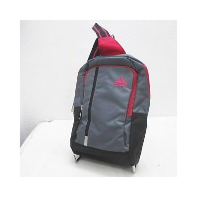 【中古】アディダス adidas ボディバッグ ロゴ刺繍 グレー ピンク ブラック 黒 レディース 【ベクトル 古着】