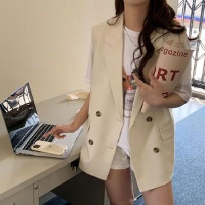 トップス ベスト ノースリーブ ジャケット シンプル レイヤード きれいめ カジュアル 韓国ファッション 大人可愛い