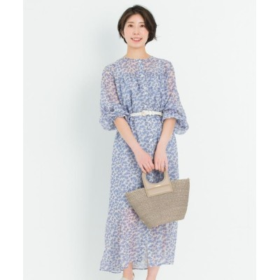 【23区】 シアーフラワープリント ワンピース(番号2F26) レディース ブルー系 36 NIJYUSANKU