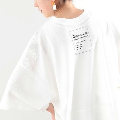 メール便 送料無料 バックプリントサーマルトップス ワッフル tシャツ カットソー レディース 大きいサイズ 半袖 春 夏 clp7038