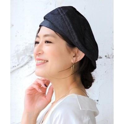 帽子 デニムPブレードベレー帽