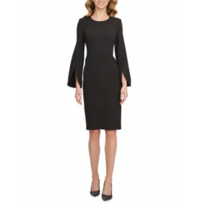 カルバンクライン レディース ワンピース トップス Split-Sleeve Sheath Dress Black