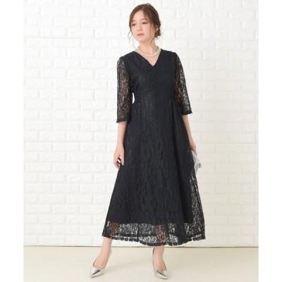 ドレス 襟元スッキリ 総レース七分袖ロング丈ワンピース・ドレス