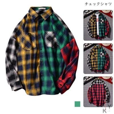 カジュアル チェックシャツ シャツ メンズ 秋服  長袖シャツ チェック柄 大きいサイズ ゆったり 春 夏 秋
