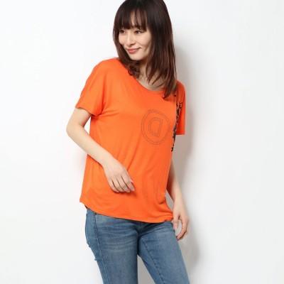 デシグアル Desigual Tシャツ半袖 TEE BACK PLEATS GARDENS (オレンジ)