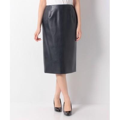 【レリアン】 フェイクレザータイトスカート レディース ネイビー 9 Leilian