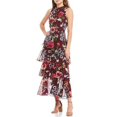 イグナイト レディース ワンピース トップス Sleeveless Floral Mock Neck Chiffon Tier Dress