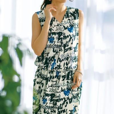Ranan 【M~3L】レタード柄ジャージー素材チュニックワンピース ソノタ L レディース