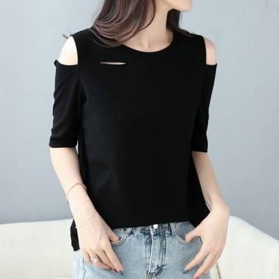 Tシャツ Vネック オフショルダー 肩見せ 変形シャツ シンプル トップス カットソー レディース ファッション カジュアル おしゃれ 半袖 女性用 ママファッション