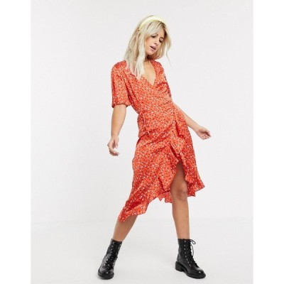 インフルエンス レディース ワンピース トップス Influence satin frill wrap midi dress in red abstract print Red multi
