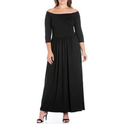 24セブンコンフォート レディース ワンピース トップス Plus Size Off-the-Shoulder Maxi Dress