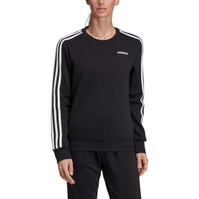 アディダス adidas レディース スウェット・トレーナー トップス Essentials 3-Stripe Fleece Sweatshirt Black/white