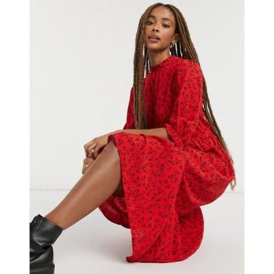 ニュールック New Look レディース ワンピース ワンピース・ドレス Frill Detail Midi Dress In Red Floral Print レッドパターン