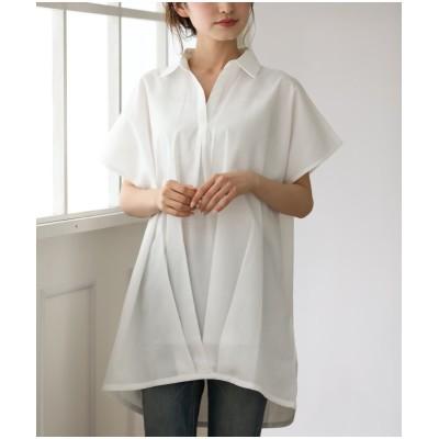裾タックスキッパーシャツチュニック (チュニック)(レディース)Tops, テレワーク, 在宅, リモート