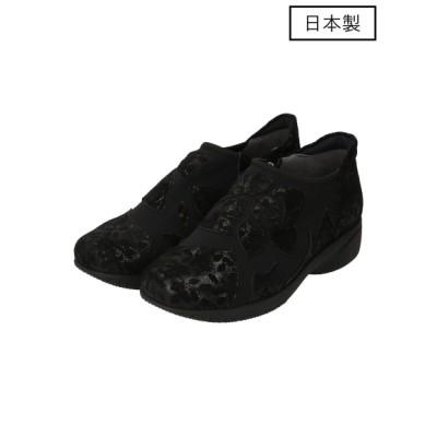 Miss Kyouko (ミスキョウコ) レディース 【日本製】4E花柄パッチワークスリッポン ブラック 22.5cm