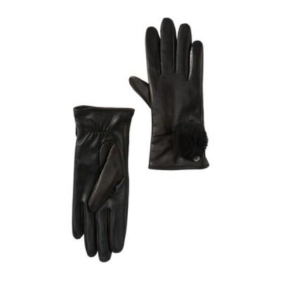 アグ レディース 手袋 アクセサリー Genuine Dyed Shearling Pompom Leather Gloves BLACK