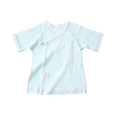 赤ちゃんの城 短肌着 50〜60 スマイルコットン サックス 綿100% 日本製