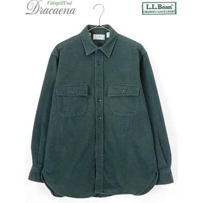 古着 シャツ 90s USA製 LL Bean ビーン シャモアクロス 厚手 フランネル シャツ ネルシャツ M 古着