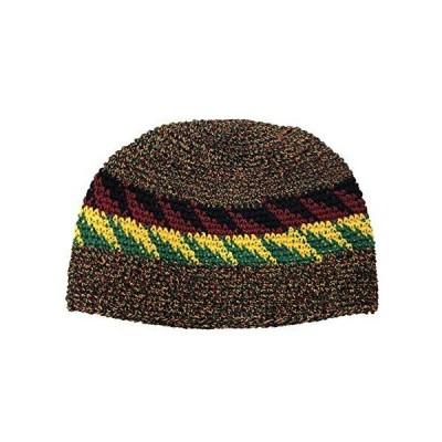 Inspirit Arts 5サイズ スカルキャップ ビーニー帽 かぎ針編み 通気性100%コットン レゲエ柄 US サイズ: Medium