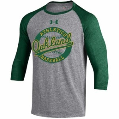Under Armour アンダー アーマー スポーツ用品  Under Armour Oakland Athletics Gray/Green Baseball 3/4-Sleeve Tri-Ble