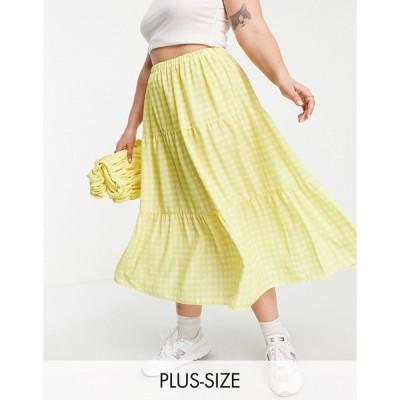 ツイステッド ヴンダー プラス Twisted Wunder Plus レディース ひざ丈スカート Aライン スカート tiered midi skirt in contrast yellow check