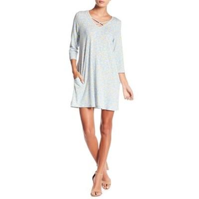 パピロン レディース ワンピース トップス V-Neck Floral Print Dress BLUE