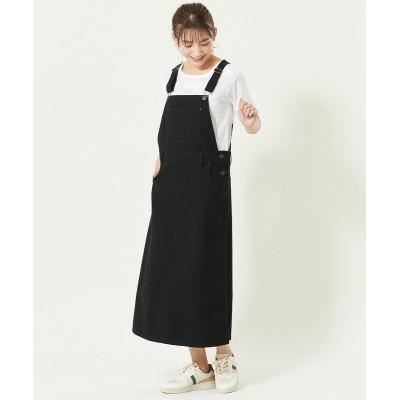 大きいサイズ  キャンバス地ロングジャンパースカート ,スマイルランド, ワンピース, plus size dress