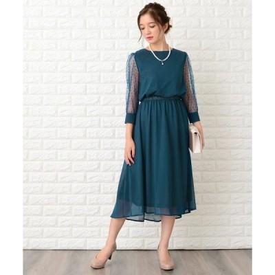ドレス ドットチュール袖ワンピース・ドレス