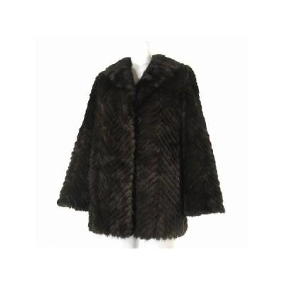 【中古】ミンク コート ジャケット リアルファー 毛皮 長袖 茶 11 アウター レディース 【ベクトル 古着】