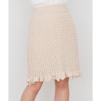 スカート 透かし編みフレアスカート