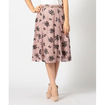 【ミッシュマッシュ】 《田中みな実さん着用》フロッキー花柄レーススカート レディース ピンク系 S MISCH MASCH