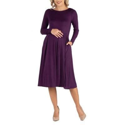 24セブンコンフォート レディース ワンピース トップス Midi Length Fit N Flare Pocket Maternity Dress