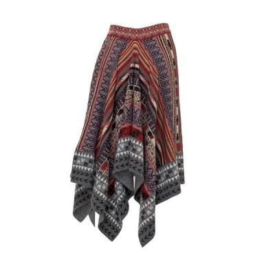 エトロ レディース スカート ボトムス Etro Geometric Print Knitted Asymmetric Skirt -
