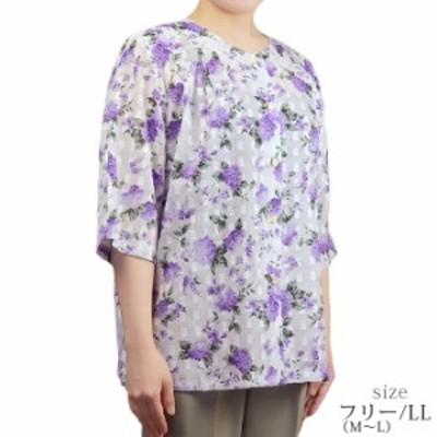 綿5分袖ブラウス フリー/LL 綿100% 日本製 コットン 夏 シニア 婦人服 シニアファッション 50代 60代 70代 80代 90代 おばあちゃん 高