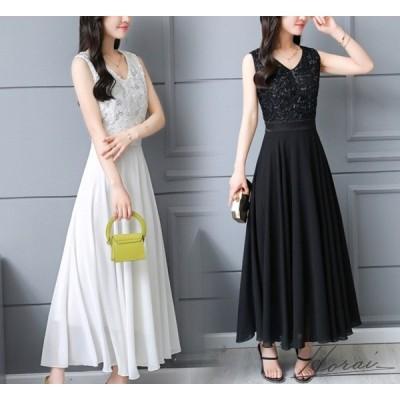 パーティードレス ロング ノースリーブ スカート 黒 透け感 ワンピドレス かわいい  お呼ばれ 20代 30代 40代 お取り寄せ