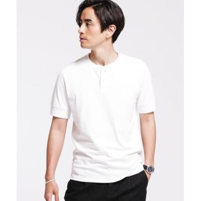(nano・universe/ナノユニバース)Anti Soaked ヘビーヘンリーネック Tシャツ/メンズ ホワイト