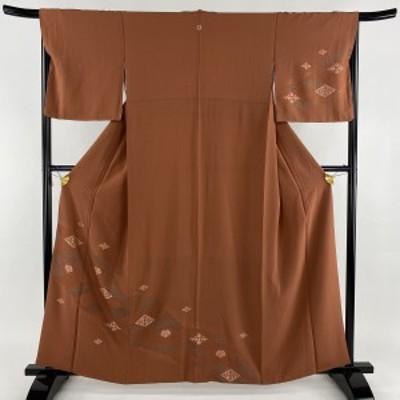 訪問着 名品 一つ紋 鈴乃屋 菱 葵 汕頭刺繍 赤茶 袷 身丈158.5cm 裄丈66cm M 正絹 中古