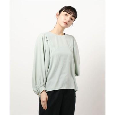 シャツ ブラウス サテンクルーパフ袖