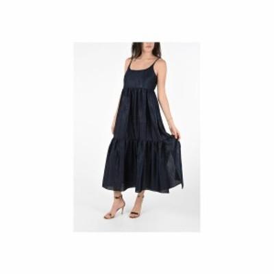 SIES MARJAN/シエスマルジャン Blue レディース Satin Maxi BRIANNA Flouced Dress with Flush Pockets dk